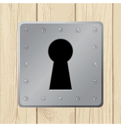 Wooden door keyhole vector
