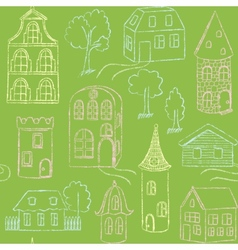 Seamless pattern with doodle houses vector