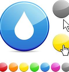 Rain glossy button vector
