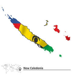 Map of new caledonia with flag vector