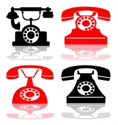 Antique telephone collection vector