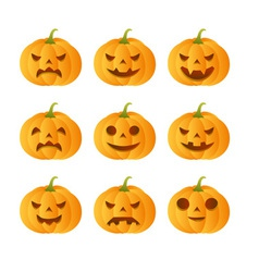 Set of 9 carved pumpkins vector