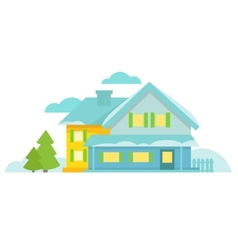 Blue cottage with spruce clouds and snow vector
