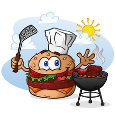 Burger chef grilling cartoon character vector