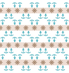 Seamless sea pattern with anchors hand wheels vector