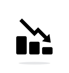 Graph down icon on white background vector