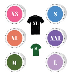 T-shirt and size color vector