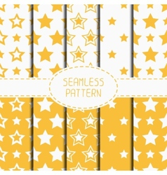 Set of yellow geometric seamless pattern with vector