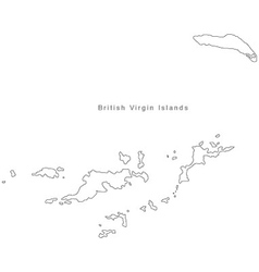 Black white british virgin islands outline map vector