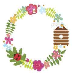 Floral wreath with bee beehive and ladybug vector