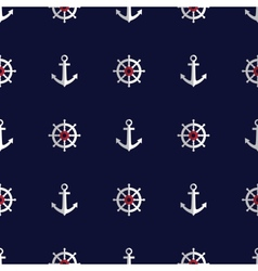 Sea style seamless pattern with anchors and helms vector
