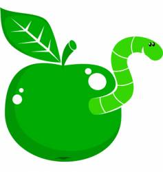 Symbol apple with worm vector