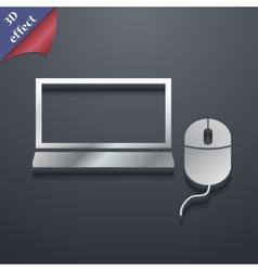 Computer widescreen monitor mouse icon symbol 3d vector
