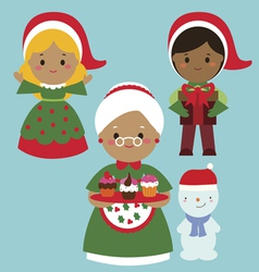 Cute holiday characters set vector