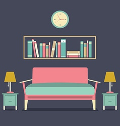 Modern design interior sofa and bookshelf vector
