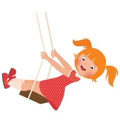 Redhead girl on a swing vector