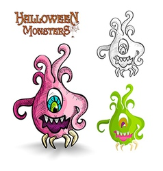 Halloween monsters scary cartoon ugly freak eps10 vector