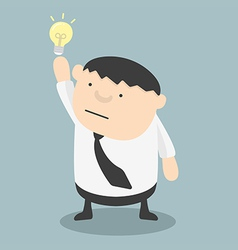 Fat businessman get idea vector