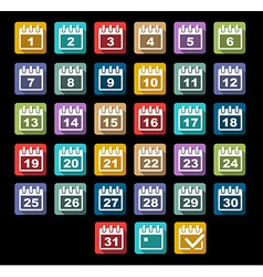 Calendar day icons set with long shadow vector