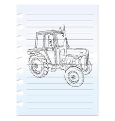 Tractor clip art on paper vector