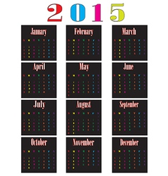 Colorful calendar for 2015 starts sunday vector