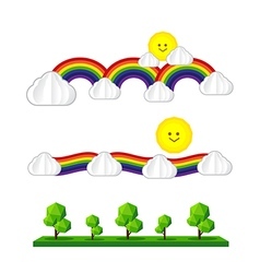 Set of sun cloud rainbow tree sun icon isolated on vector