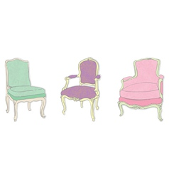 Antique rococo chairs vector