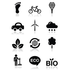 Green ecology black clean icons set vector