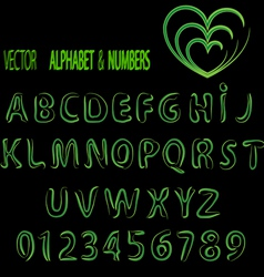 herbal alphabet and numbers vector