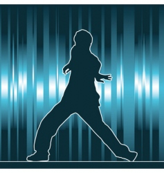 Hip-hop dancing silhouette vector