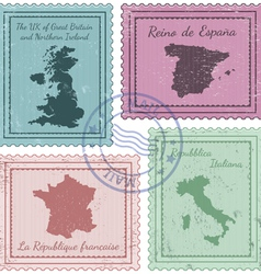 Postal stamps 2 vector