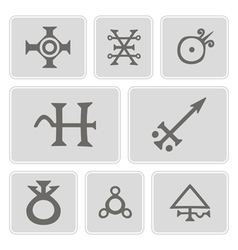 Monochrome icons with alchemical processes vector