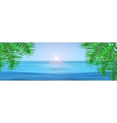 View of tropical sea between the palm trees under vector