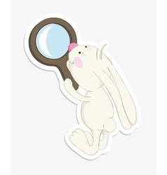 Rabbit and magnifier sticker vector
