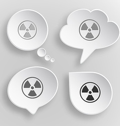 Radiation symbol white flat buttons on gray vector