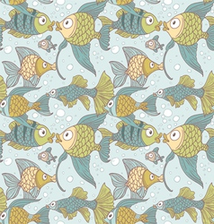 Seamless vintage ornament variety of fish vector