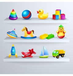Toys icons shelf vector