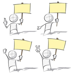 Simple people holding a placard vector