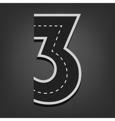 Three number road font vector