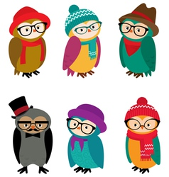 Set owls hipsters vector