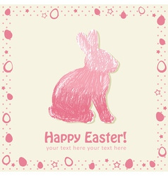 Easter cute scribble bunny silhouette hand drawn vector