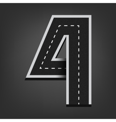 Four number road font vector