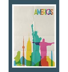 Travel americas landmarks skyline vintage poster vector