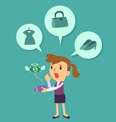 Business woman run out of money vector