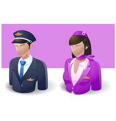 People icons captain and air hostess vector