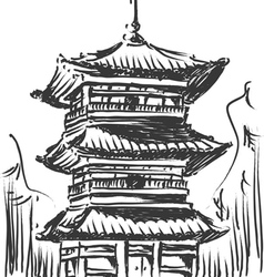 Sketch of japan landmark kiyomizu temple vector