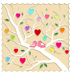 Springtime love tree and birds vector