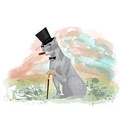 Dog gentleman vector
