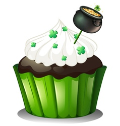 A chocolate cupcake with a pot full of coins vector