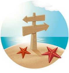 Guidepost at the sea beach vector